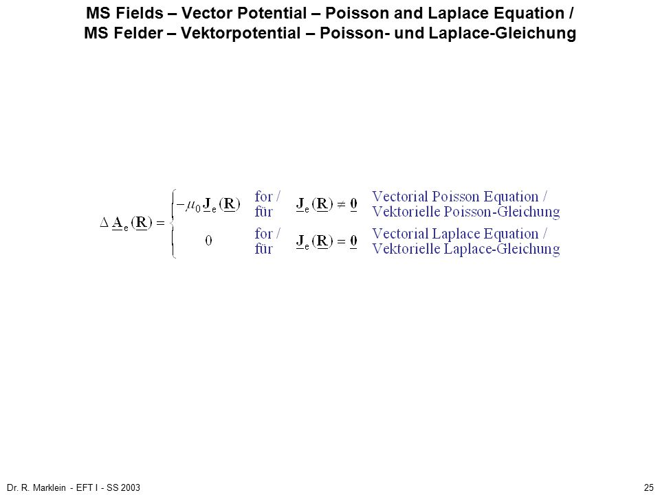 MS Fields – Vector Potential – Poisson and Laplace Equation / MS Felder – Vektorpotential – Poisson- und Laplace-Gleichung