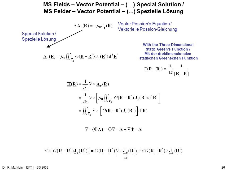 MS Fields – Vector Potential – (…) Special Solution / MS Felder – Vector Potential – (...) Spezielle Lösung