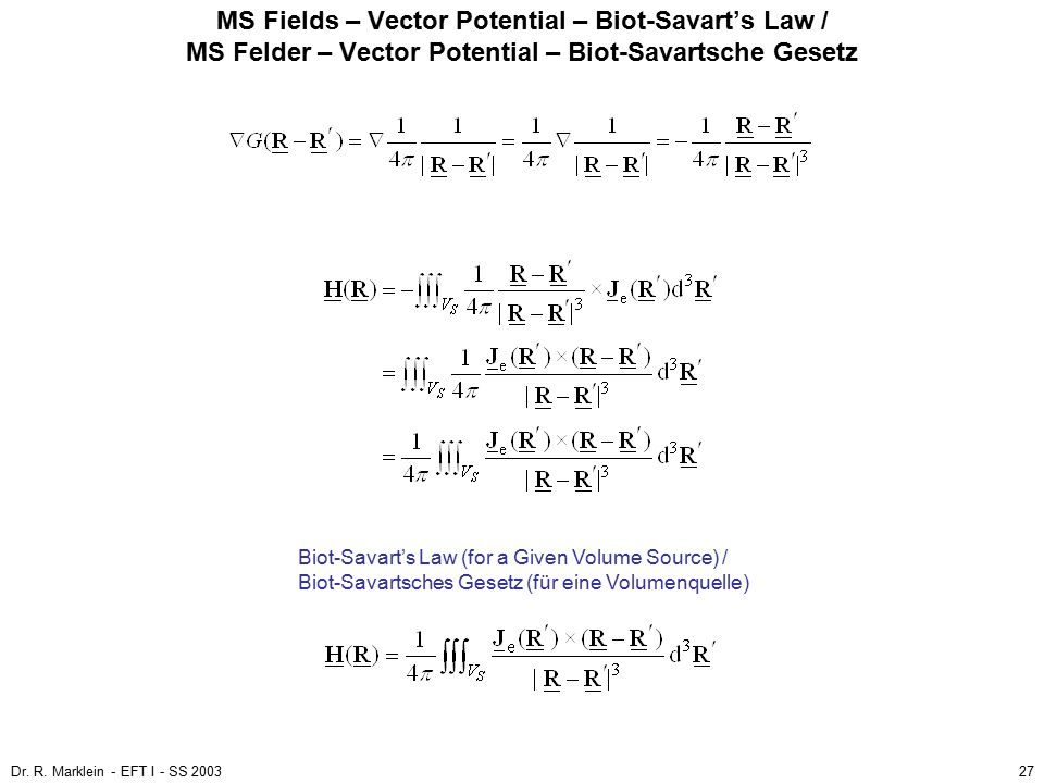 MS Fields – Vector Potential – Biot-Savart's Law / MS Felder – Vector Potential – Biot-Savartsche Gesetz