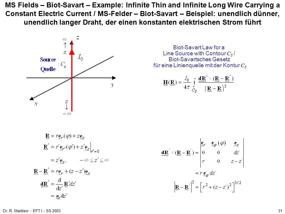 MS Fields – Biot-Savart – Example: Infinite Thin and Infinite Long Wire Carrying a Constant Electric Current / MS-Felder – Biot-Savart – Beispiel: unendlich dünner, unendlich langer Draht, der einen konstanten elektrischen Strom führt