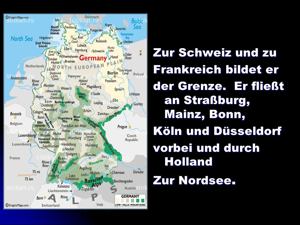 Zur Schweiz und zu Frankreich bildet er. der Grenze. Er fließt an Straßburg, Mainz, Bonn, Köln und Düsseldorf.