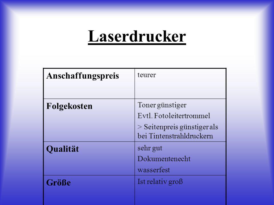 Laserdrucker Anschaffungspreis Folgekosten Qualität Größe teurer