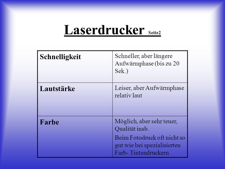 Laserdrucker Seite2 Schnelligkeit Lautstärke Farbe