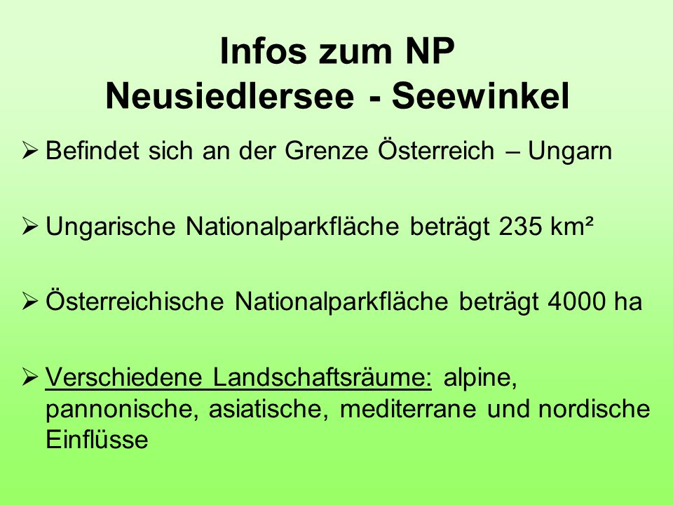 Infos zum NP Neusiedlersee - Seewinkel