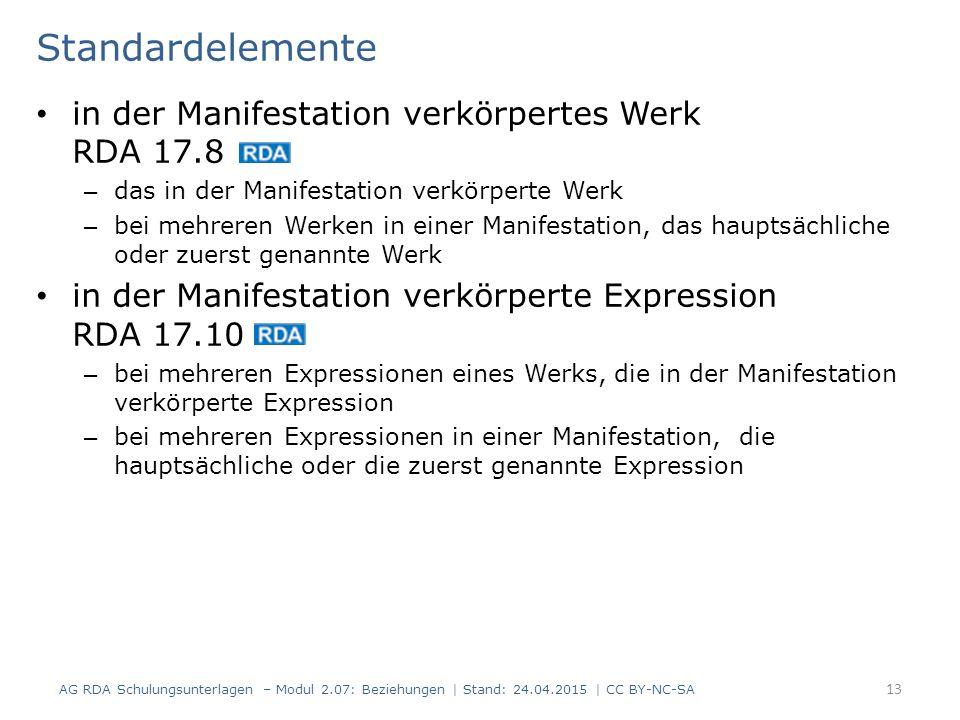 Standardelemente in der Manifestation verkörpertes Werk RDA 17.8