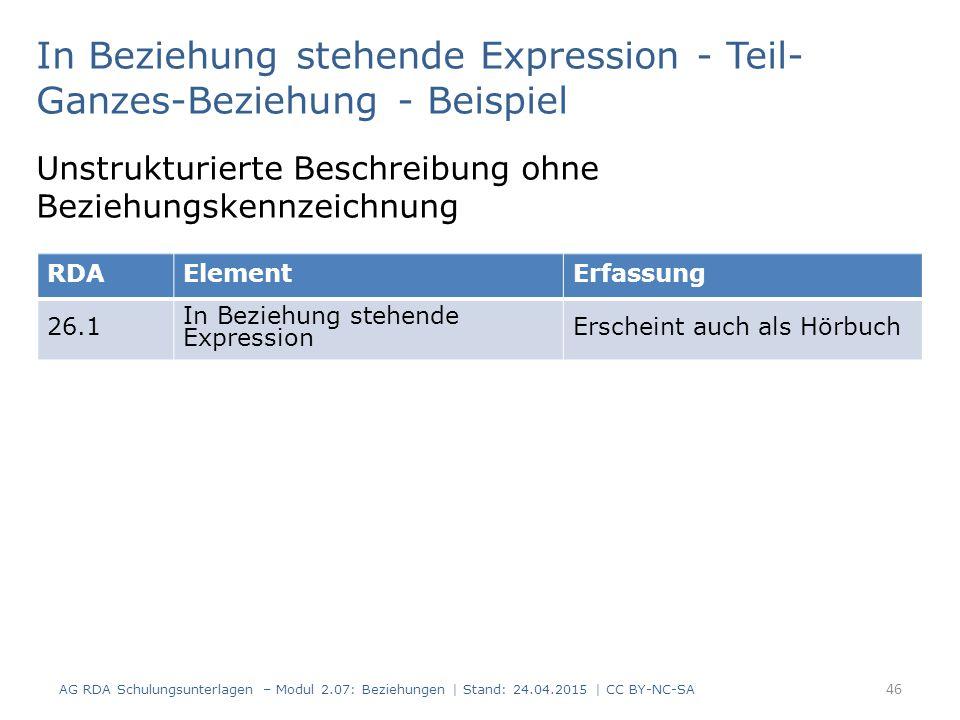 In Beziehung stehende Expression - Teil-Ganzes-Beziehung - Beispiel