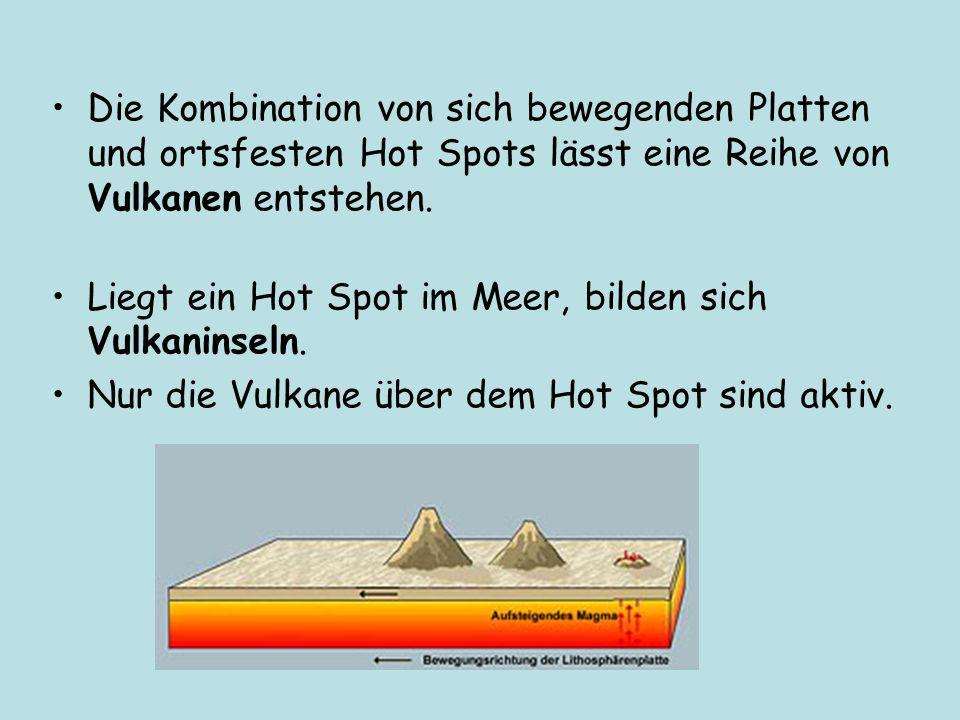 Die Kombination von sich bewegenden Platten und ortsfesten Hot Spots lässt eine Reihe von Vulkanen entstehen.