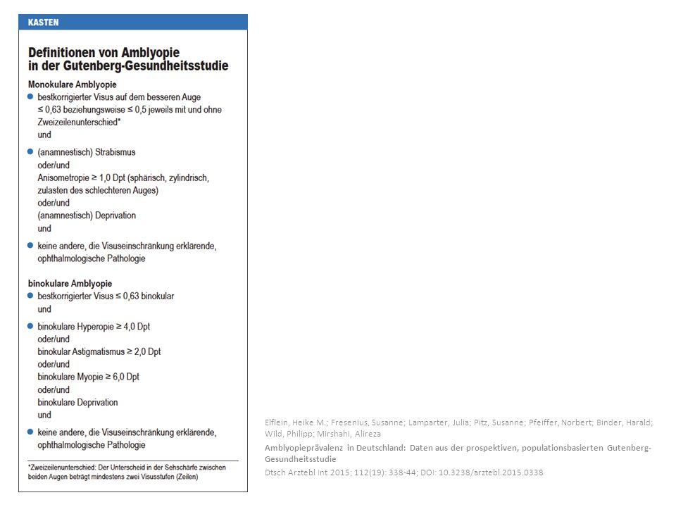 Elflein, Heike M.; Fresenius, Susanne; Lamparter, Julia; Pitz, Susanne; Pfeiffer, Norbert; Binder, Harald; Wild, Philipp; Mirshahi, Alireza