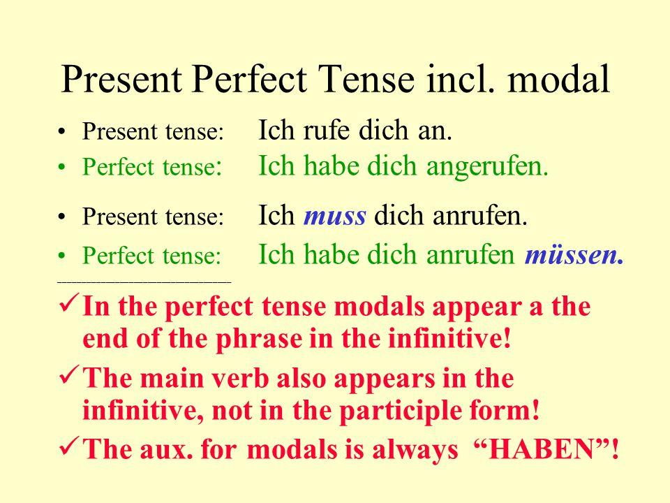 Present Perfect Tense incl. modal