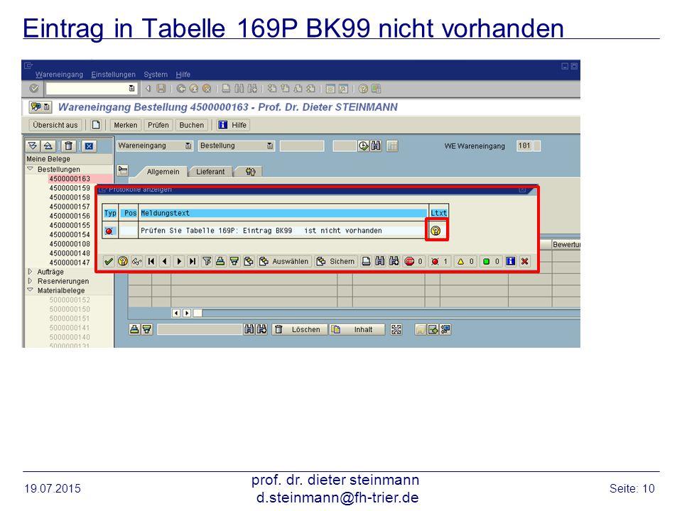 Eintrag in Tabelle 169P BK99 nicht vorhanden