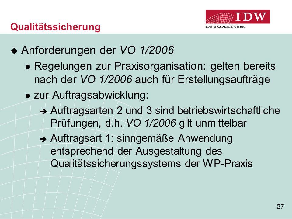 Qualitätssicherung Anforderungen der VO 1/2006. Regelungen zur Praxisorganisation: gelten bereits nach der VO 1/2006 auch für Erstellungsaufträge.