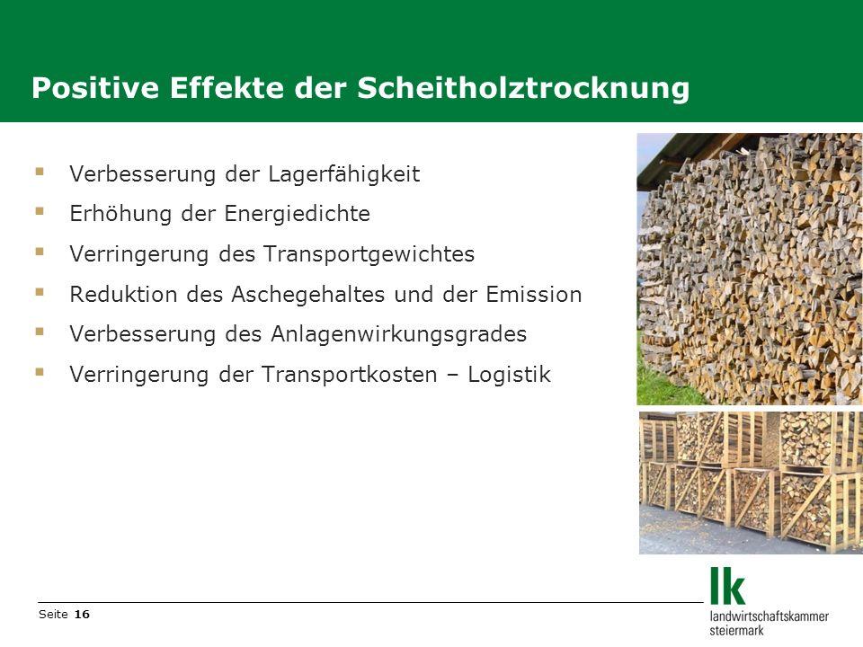 Positive Effekte der Scheitholztrocknung