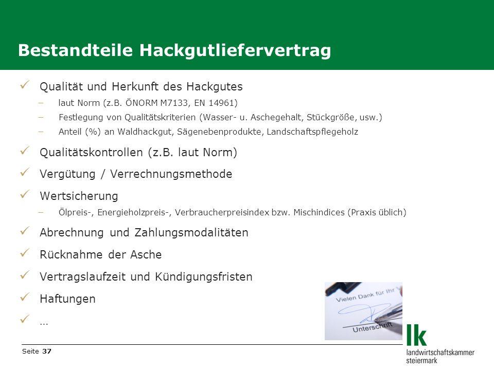 Bestandteile Hackgutliefervertrag