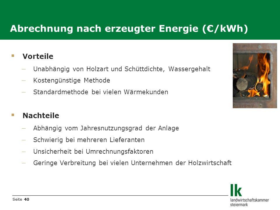 Abrechnung nach erzeugter Energie (€/kWh)