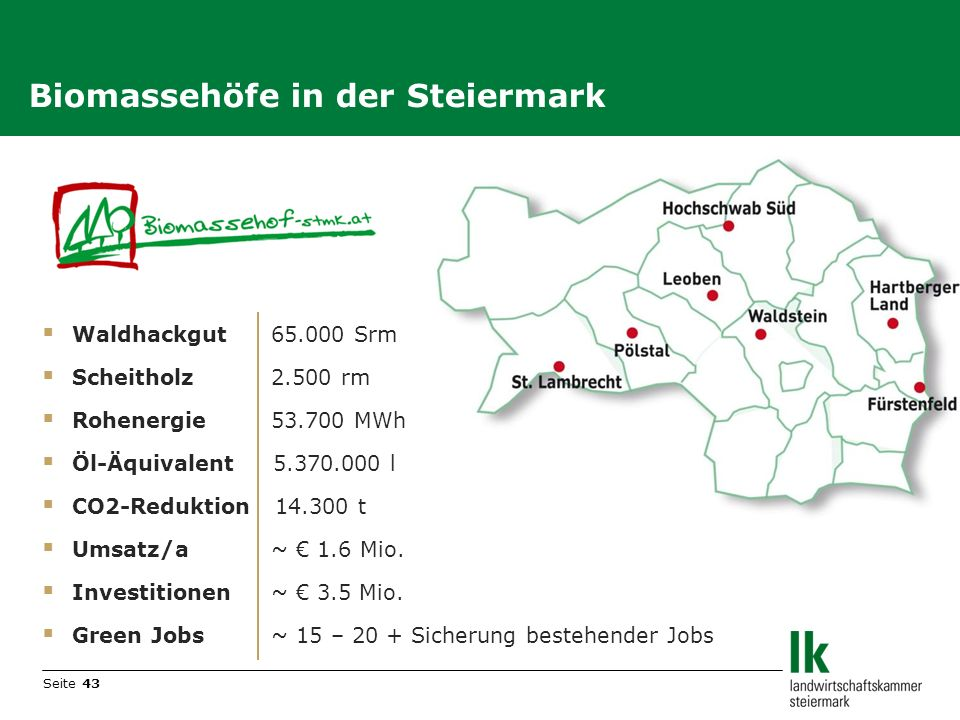 Biomassehöfe in der Steiermark
