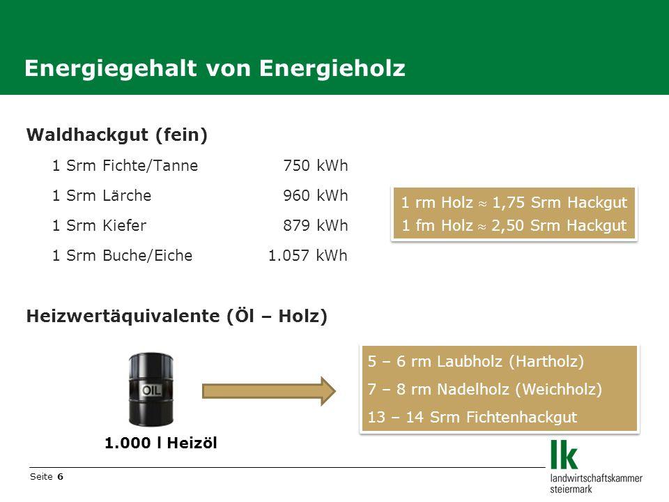 Energiegehalt von Energieholz
