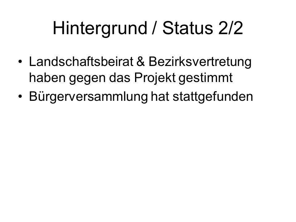 Hintergrund / Status 2/2 Landschaftsbeirat & Bezirksvertretung haben gegen das Projekt gestimmt.