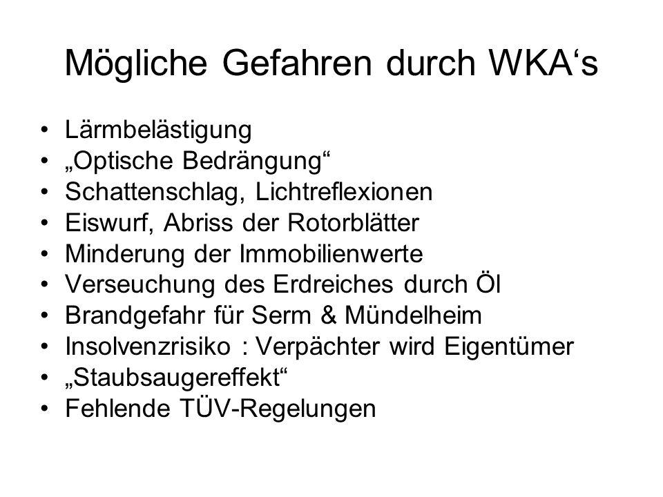 Mögliche Gefahren durch WKA's