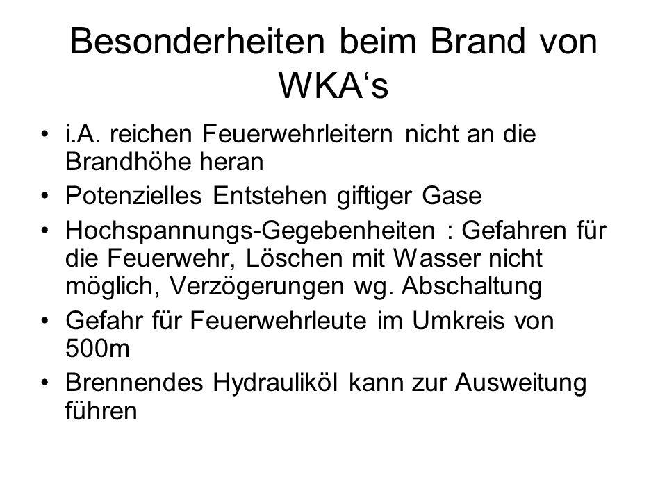 Besonderheiten beim Brand von WKA's
