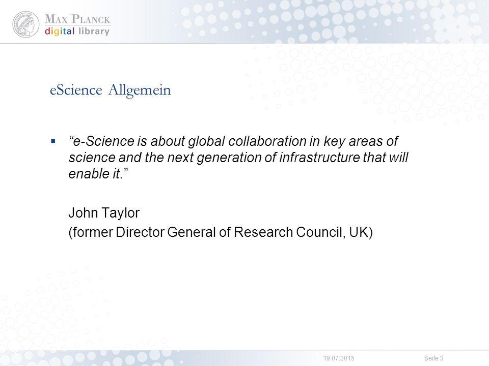 eScience eSciDoc Management und Veröffentlichung von