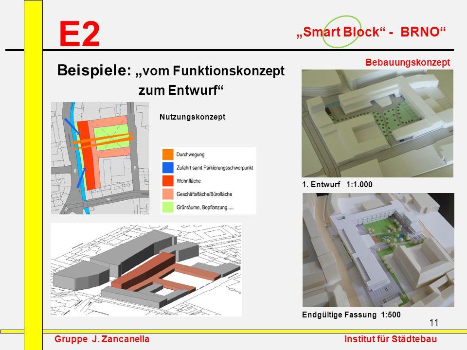"""E2 Beispiele: """"vom Funktionskonzept """"Smart Block - BRNO zum Entwurf"""