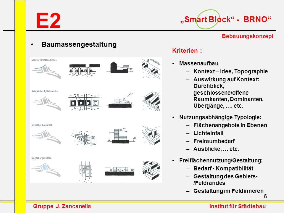 """E2 """"Smart Block - BRNO Baumassengestaltung Kriterien :"""