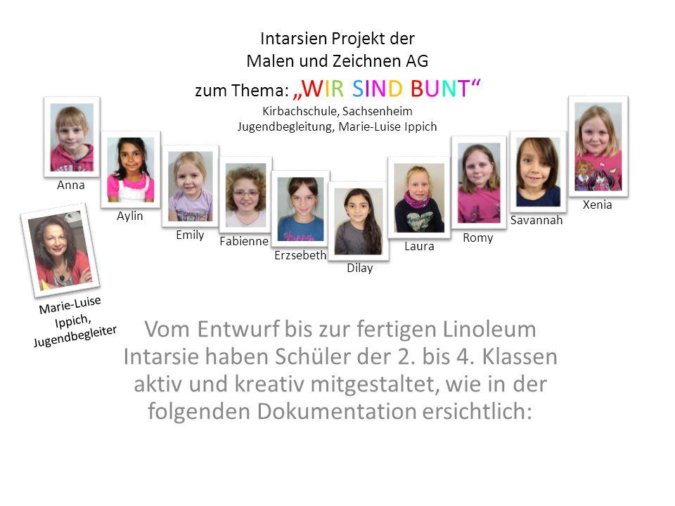 """Intarsien Projekt der Malen und Zeichnen AG zum Thema: """"WIR SIND BUNT Kirbachschule, Sachsenheim Jugendbegleitung, Marie-Luise Ippich"""