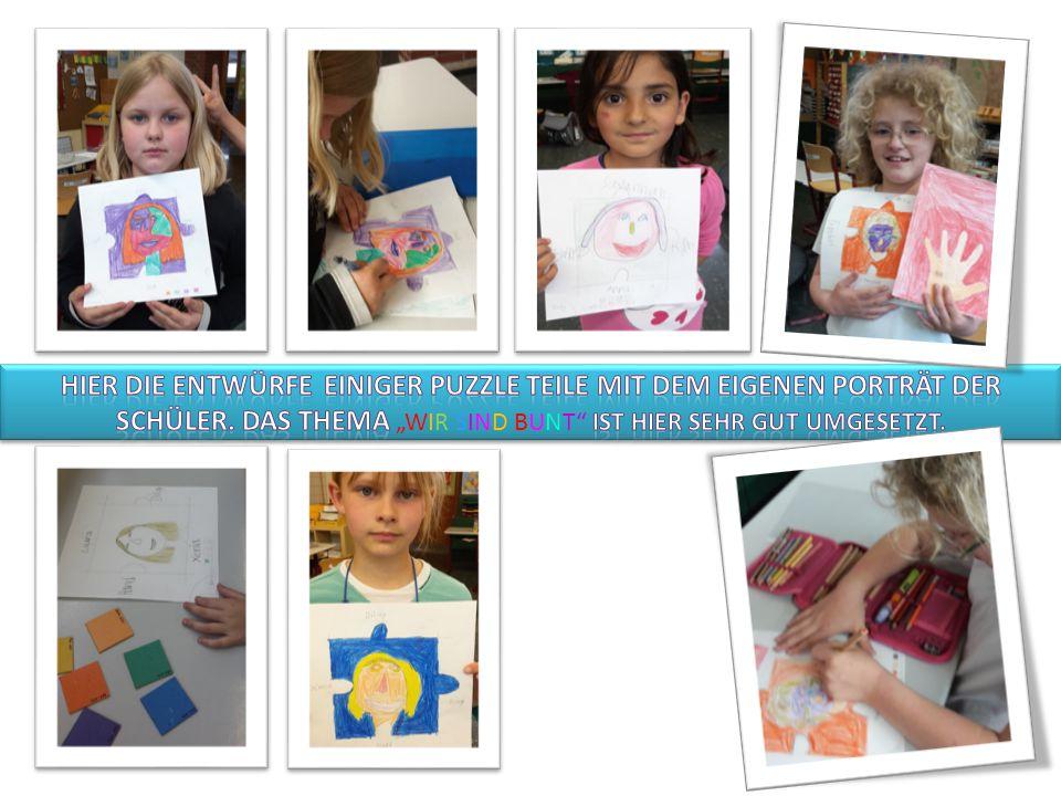 Hier die Entwürfe einiger Puzzle Teile mit dem eigenen Porträt der Schüler.