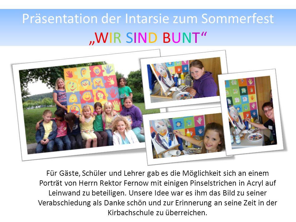 """Präsentation der Intarsie zum Sommerfest """"WIR SIND BUNT"""