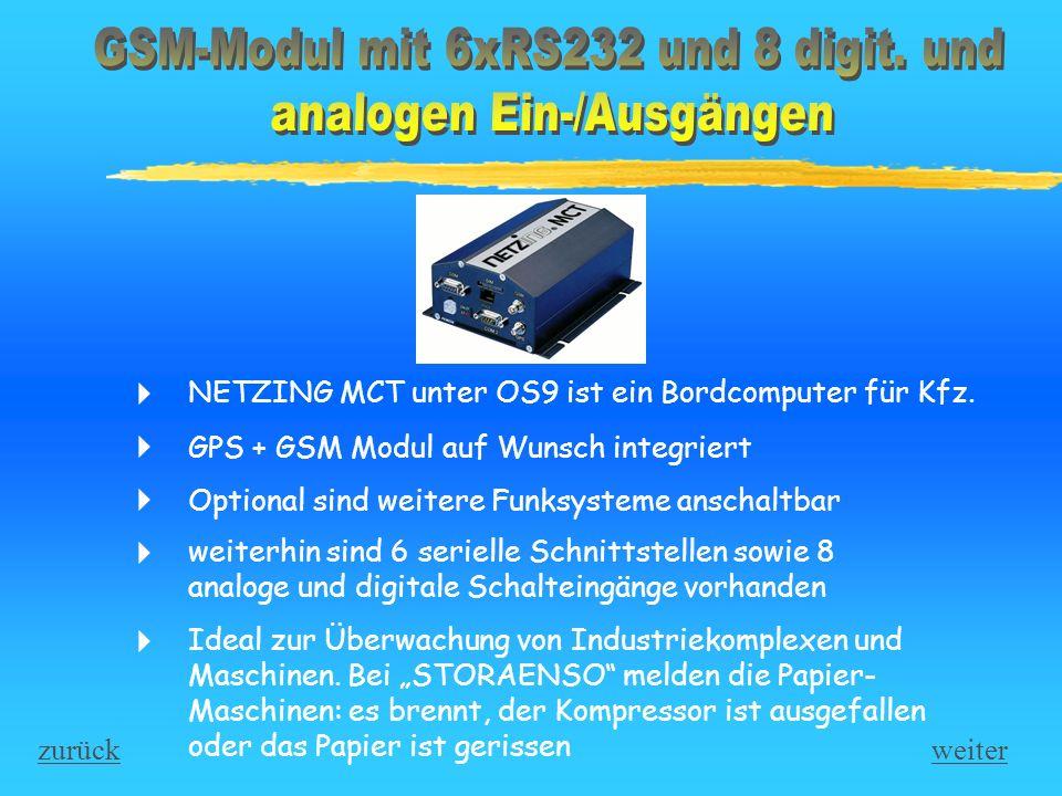 GSM-Modul mit 6xRS232 und 8 digit. und analogen Ein-/Ausgängen