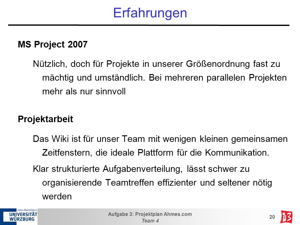 Erfahrungen MS Project 2007