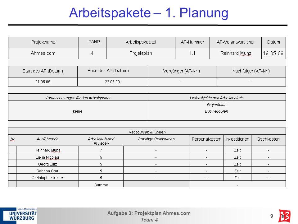 Arbeitspakete – 1. Planung