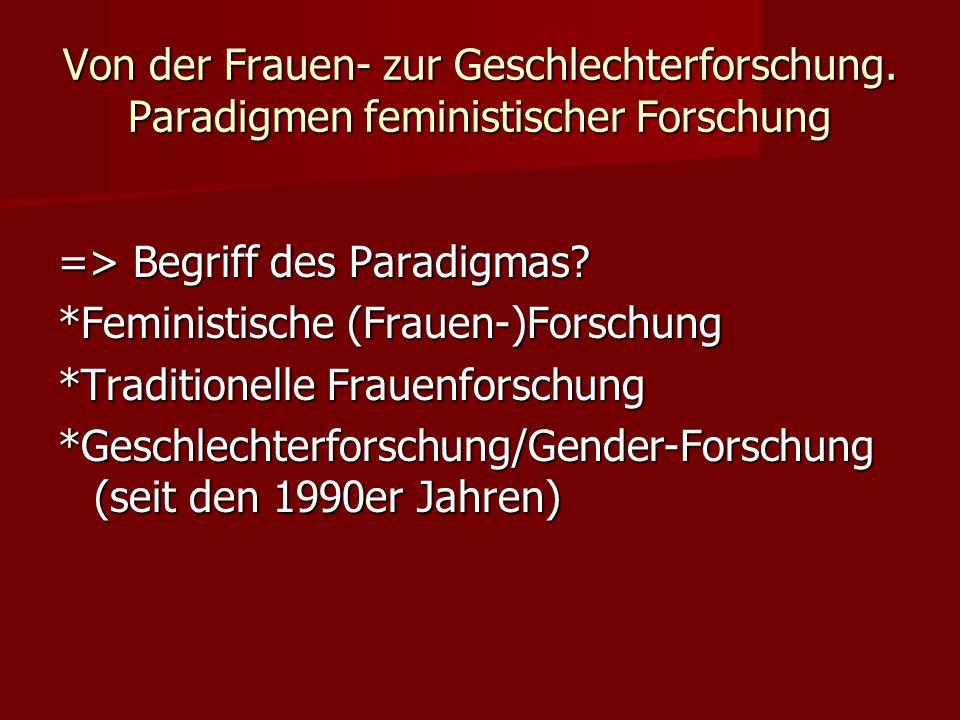 Von der Frauen- zur Geschlechterforschung