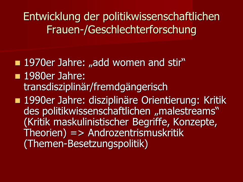Entwicklung der politikwissenschaftlichen Frauen-/Geschlechterforschung