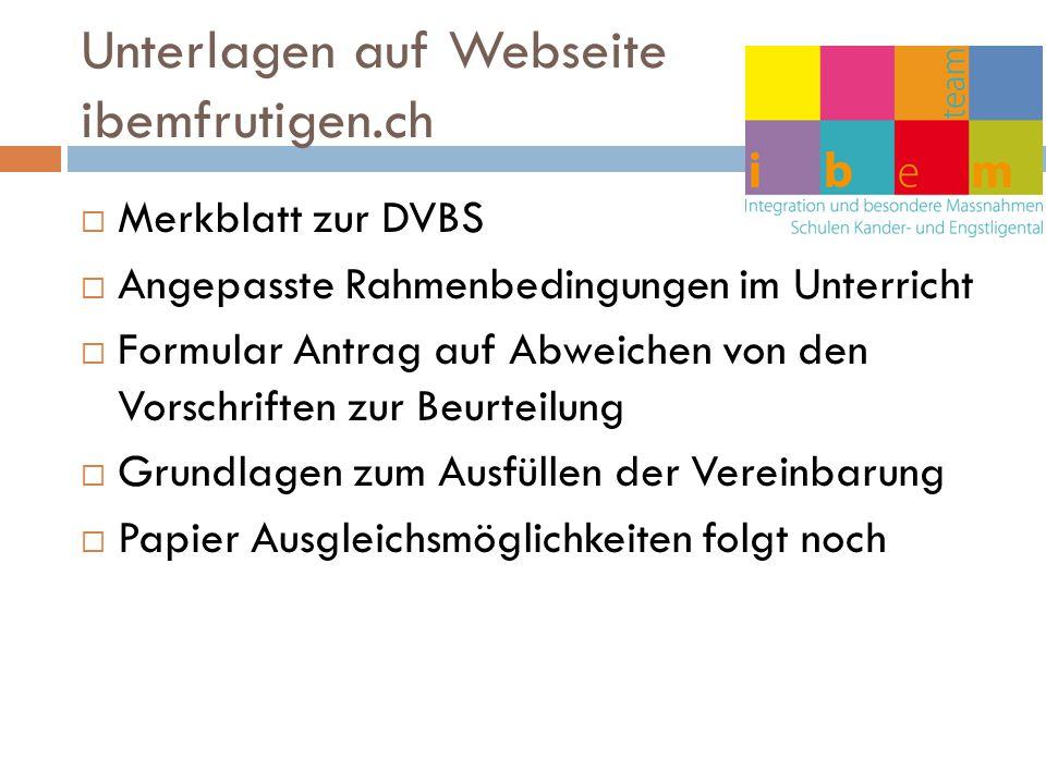 Unterlagen auf Webseite ibemfrutigen.ch