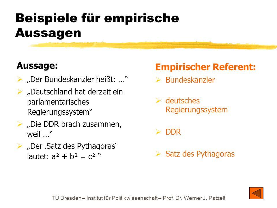 Beispiele für empirische Aussagen