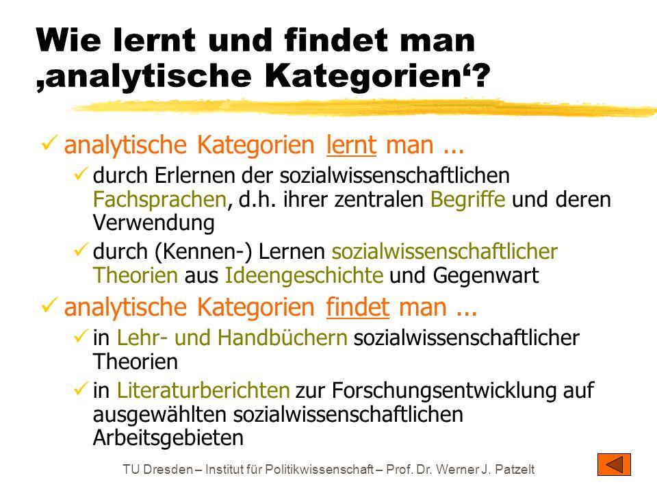 Wie lernt und findet man 'analytische Kategorien'