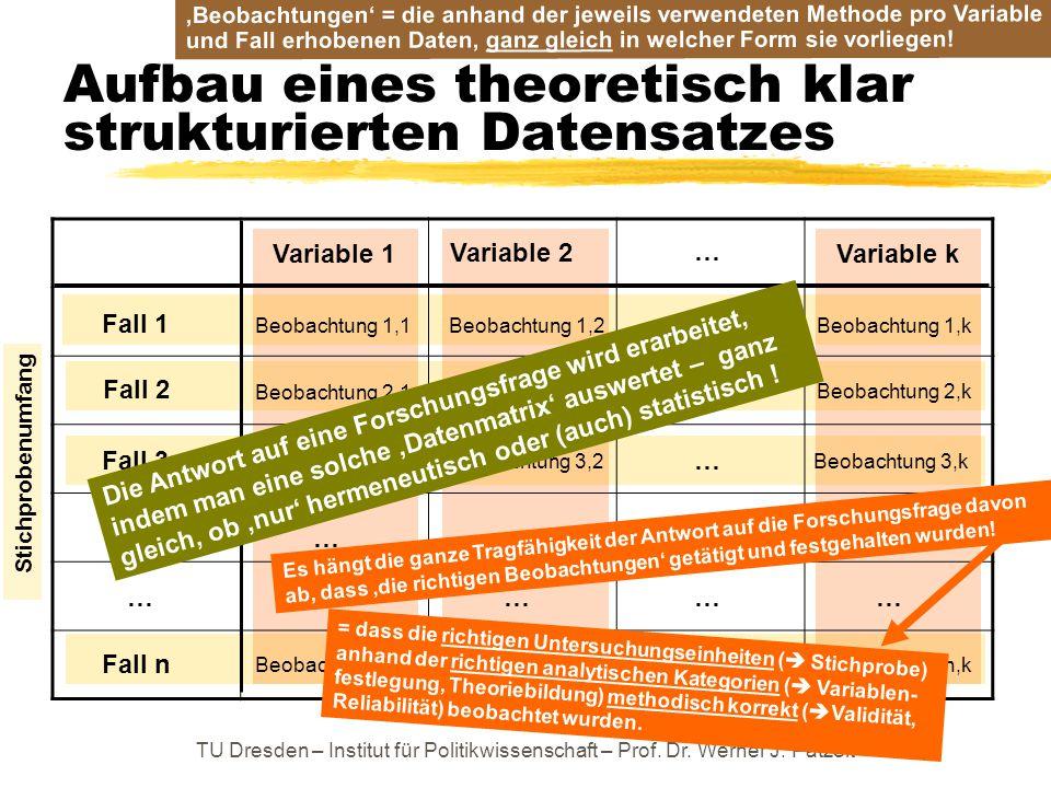 Aufbau eines theoretisch klar strukturierten Datensatzes