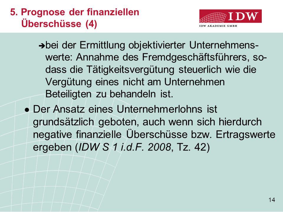 5. Prognose der finanziellen Überschüsse (4)