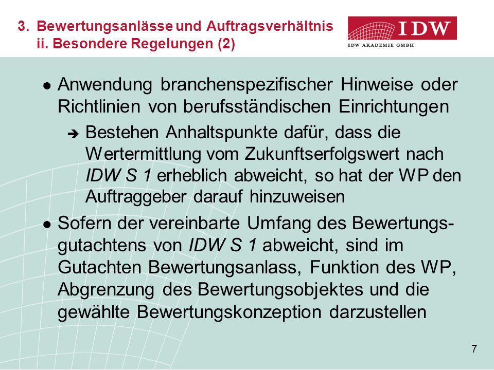 3. Bewertungsanlässe und Auftragsverhältnis. ii