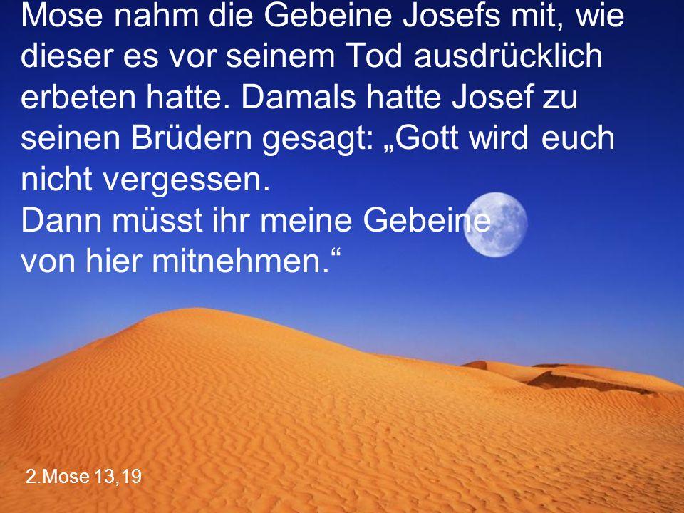 """Mose nahm die Gebeine Josefs mit, wie dieser es vor seinem Tod ausdrücklich erbeten hatte. Damals hatte Josef zu seinen Brüdern gesagt: """"Gott wird euch nicht vergessen. Dann müsst ihr meine Gebeine von hier mitnehmen."""