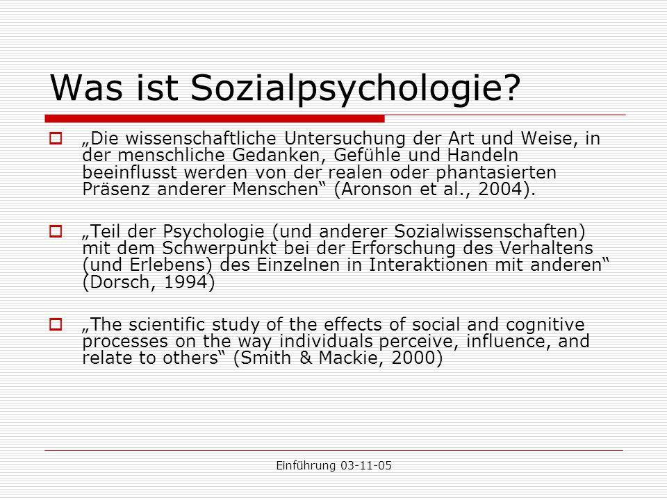 Was ist Sozialpsychologie