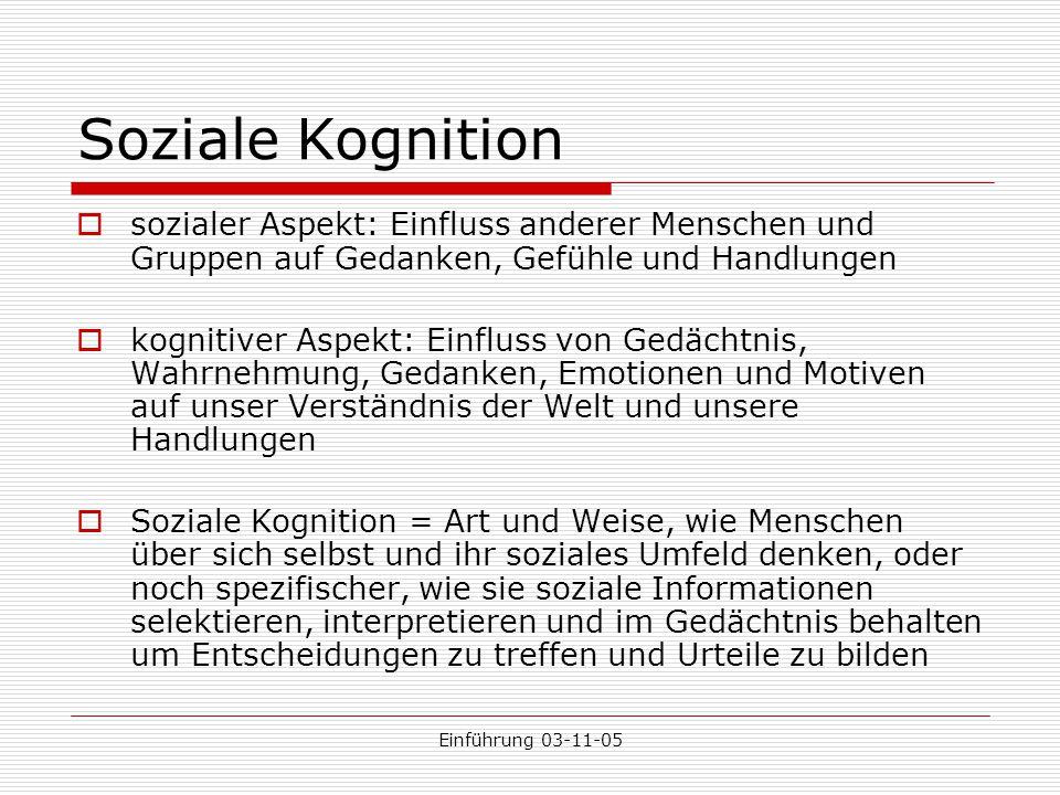 Soziale Kognition sozialer Aspekt: Einfluss anderer Menschen und Gruppen auf Gedanken, Gefühle und Handlungen.