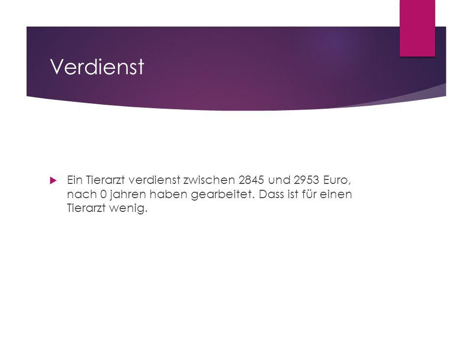 Verdienst Ein Tierarzt verdienst zwischen 2845 und 2953 Euro, nach 0 jahren haben gearbeitet.