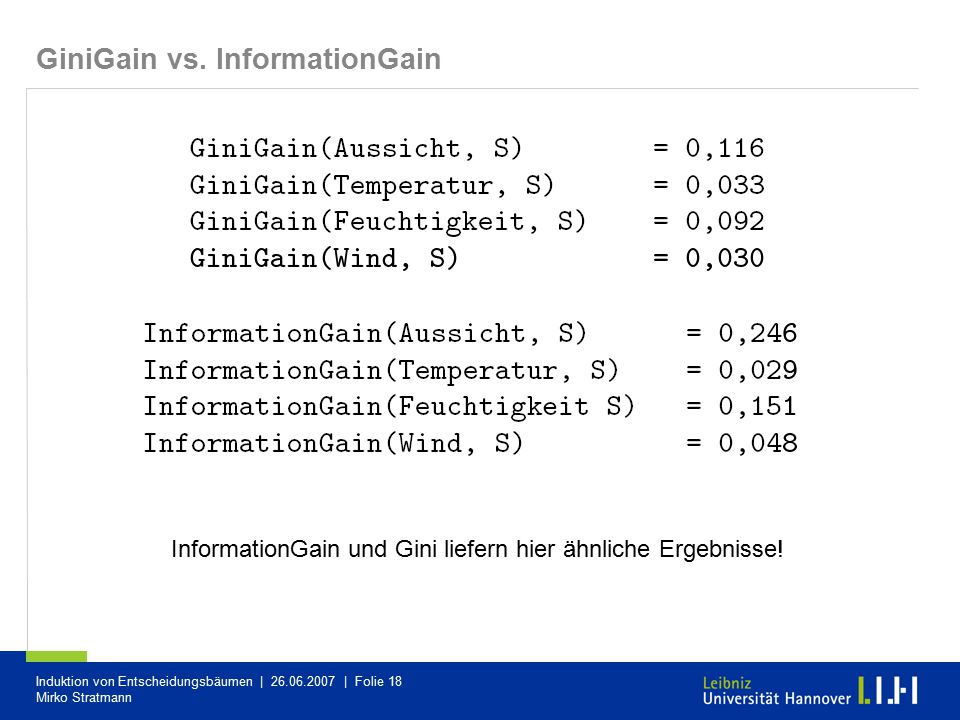 GiniGain vs. InformationGain