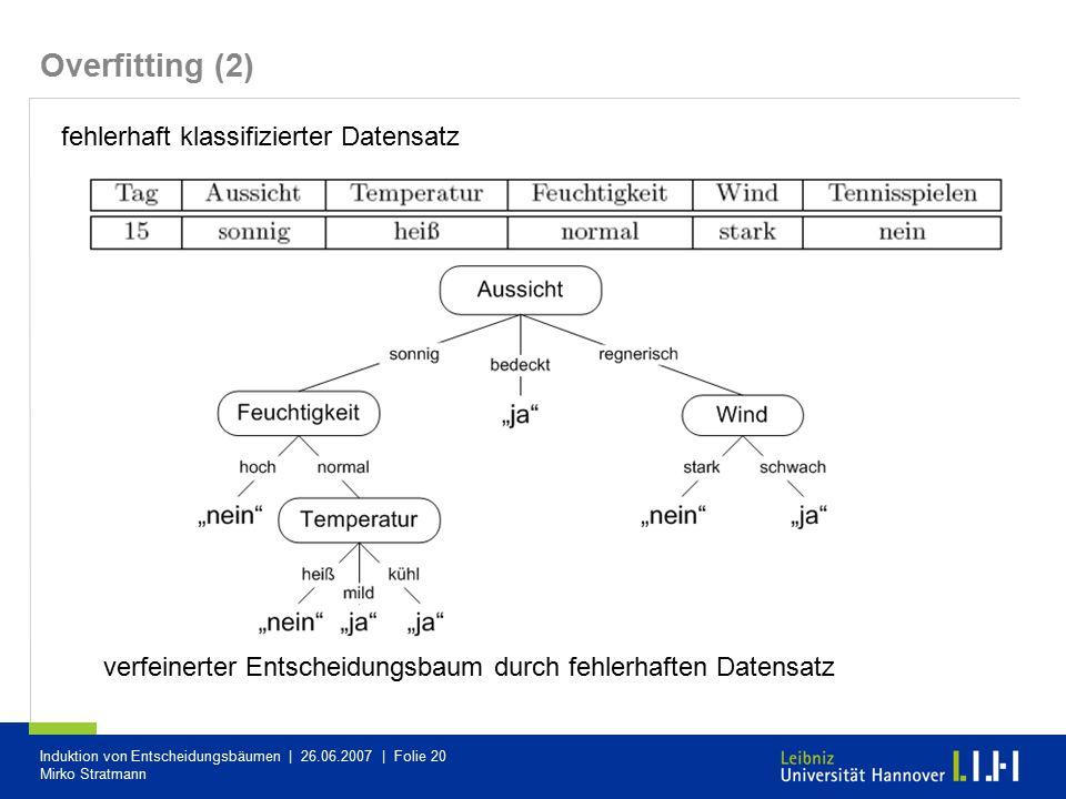 Overfitting (2) fehlerhaft klassifizierter Datensatz