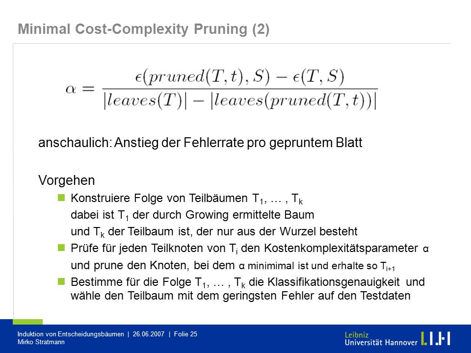 Minimal Cost-Complexity Pruning (2)