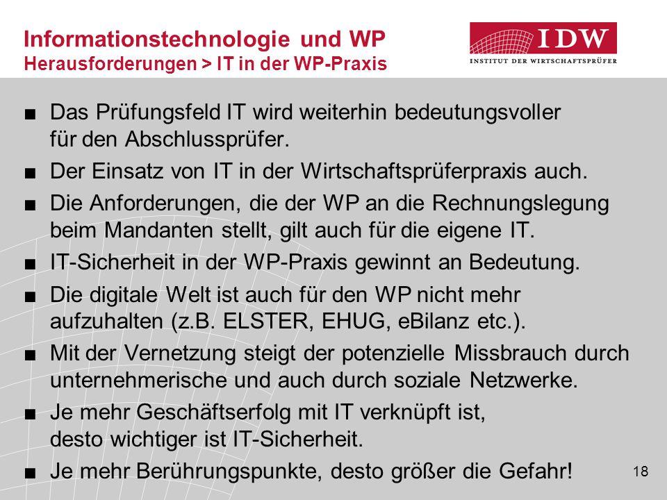 Informationstechnologie und WP Herausforderungen > IT in der WP-Praxis