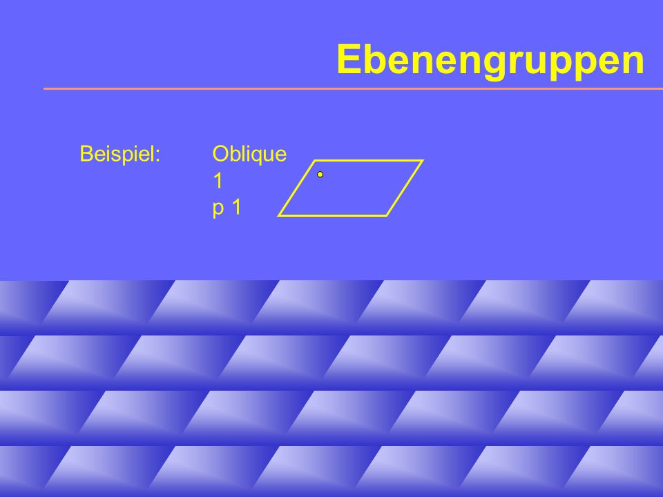 Ebenengruppen Beispiel: Oblique 1 p 1