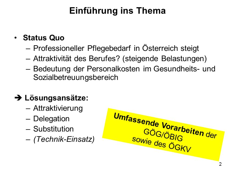 Umfassende Vorarbeiten der GÖG/ÖBIG